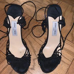Jimmy Choo Black Ankle Lace Up Open Toe Cork Heels